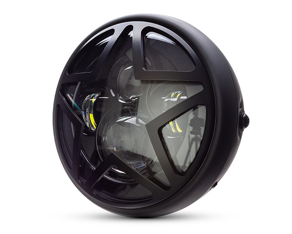 """Motorbike Headlight LED 7.7"""" with Star Design Grill for Retro Cafe Racer & Streetfighter"""