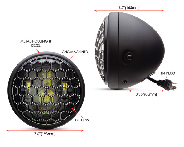 """Motorbike Headlight LED 7.7"""" with Honeycomb Grill for Retro Cafe Racer & Streetfighter"""