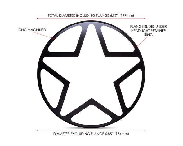 "7"" INCH Matt Black Star Metal Headlight Cover Grill Scrambler for Project Motorbike"