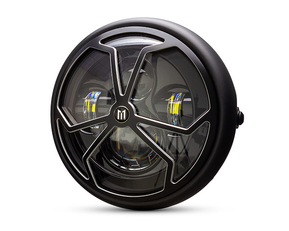 """Motorcycle Headlight LED 7.7"""" with Spider's Web Design Grill for Retro Cafe Racer & Streetfighter"""