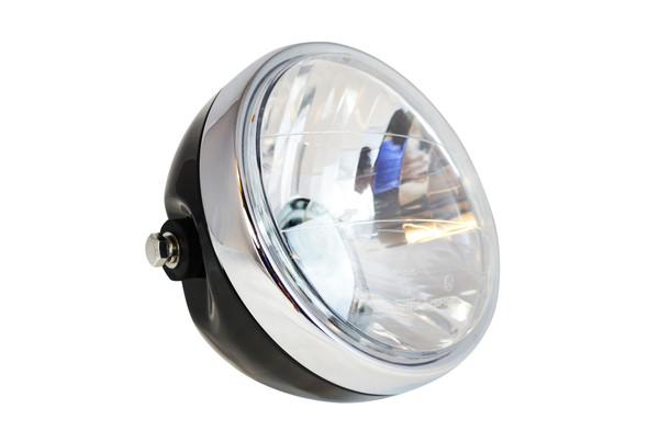 Motorcycle Headlight Black Metal With Chrome Bezel Custom Project Retro