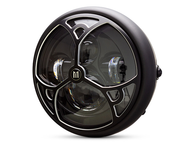 """Motorbike Headlight LED 7.7"""" with Tri-Deco Design Grill for Retro Cafe Racer & Streetfighter"""