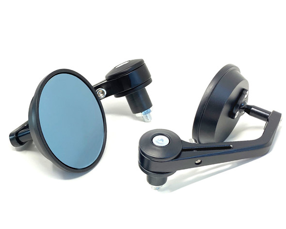 Motorbike Handlebar Bar End Mirrors - Round with Blue Tinted Glass - PAIR