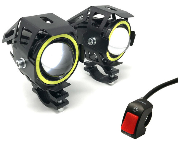 Projector LED Spotlight Kit with Switch for Adventure Touring Bikes - 15W - PAIR