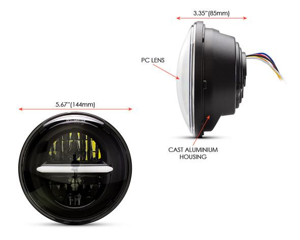 "5.75"" 45W Black Multi Projector LED Headlight Insert with Daytime Running Lights"