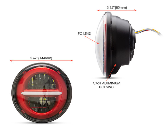 """5.75"""" 45W Red Multi Projector LED Headlight Insert with Daytime Running Lights"""