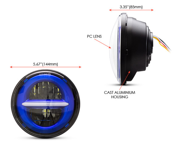 """5.75"""" 45W Blue Multi Projector LED Headlight Insert with Daytime Running Lights"""