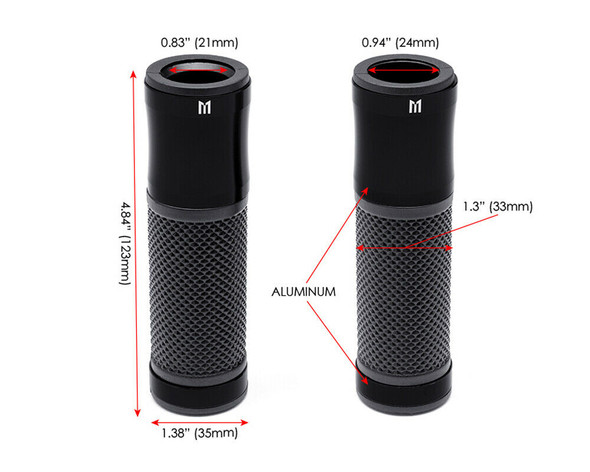 """Motorcycle Black Hand Grips for 22mm 7/8"""" Handlebars - Aluminium and Rubber"""