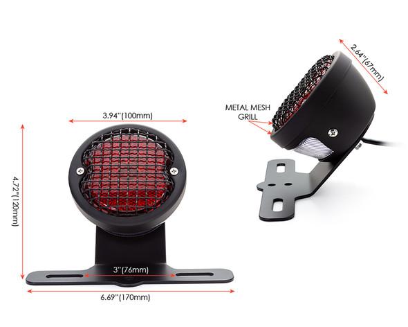 Retro LED Stop Tail Driving Light with Vintage Mesh Grill - Matt Black