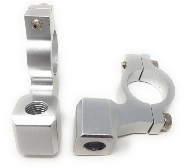 Silver Motorbike Mirror Mounts 10mm Clockwise Thread x 2 for 22mm Handlebars