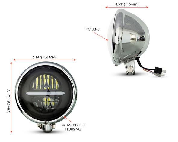 "Motorbike Headlight LED 5.75"" Inch Custom Bike Chrome + Daytime Running Lights"