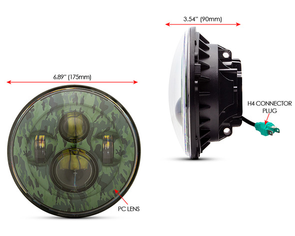 """Motorbike Headlight Insert LED 7"""" Projector 45W Camoflage for Harley Softail"""