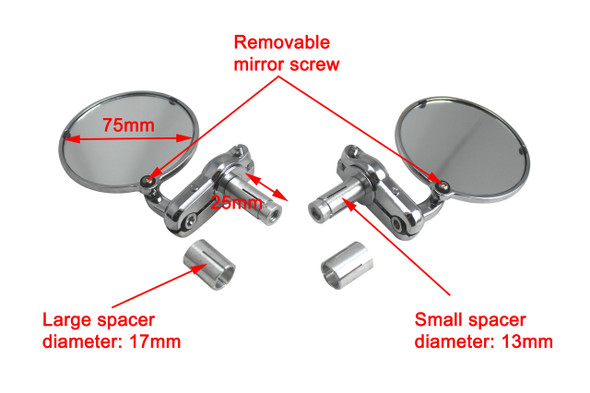 Pair of Chrome Round Bar End Motorcycle Motorbike Mirrors