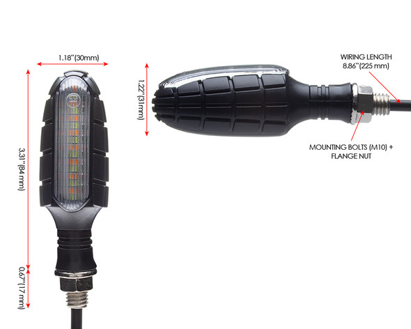 Motorbike LED Indicators & Driving Lights Integrated Blinkers Turn Signals