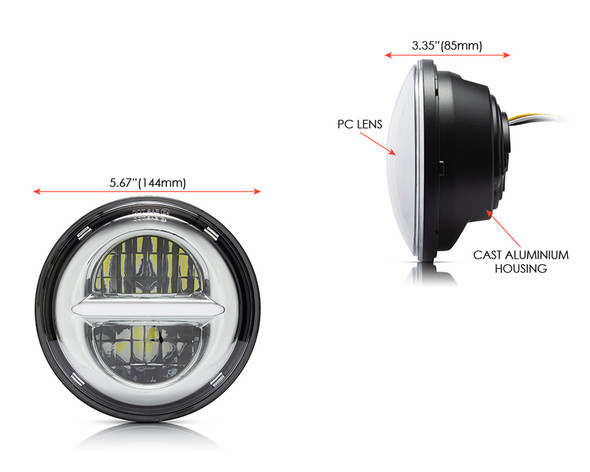 """5.75"""" 45W Silver Multi Projector LED Headlight Insert with Daytime Running Lights"""