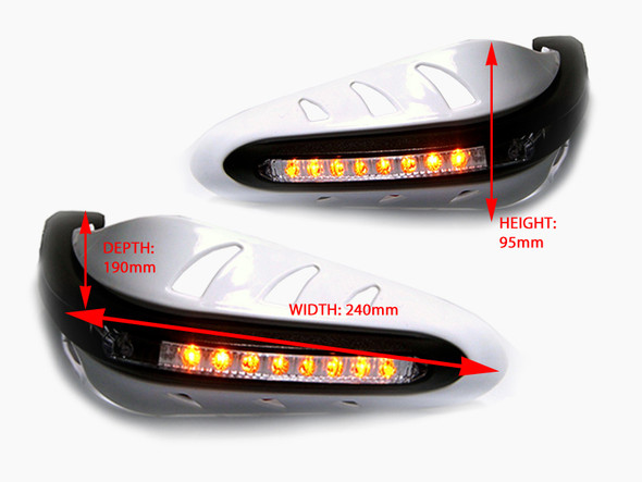 Universal WHITE Integrated LED Motorcycle Handguards With Indicators / Turn Signals