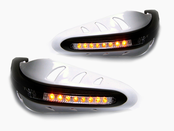 Universal WHITE Integrated LED Motorcycle Handguards With Indicators Turn Signals