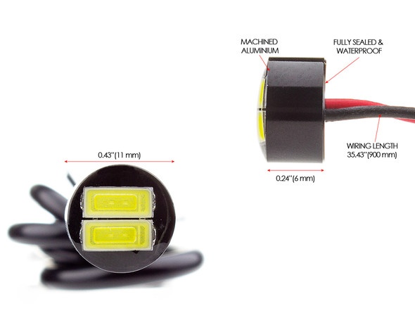 Super Bright Micro Aluminium LED Fog / Daytime Running Lights  for Motorcycle Motorbike- SMALLEST & BRIGHTEST ON THE MARKET!