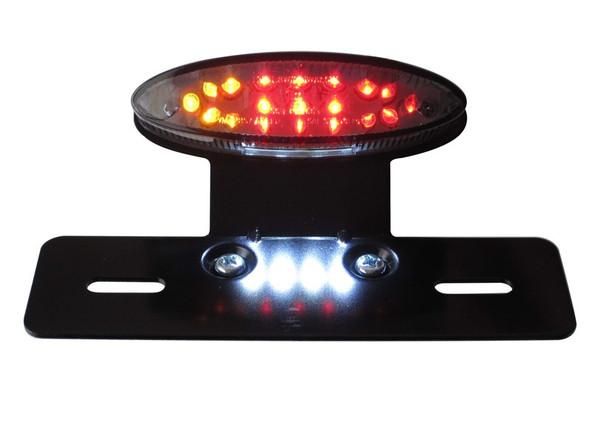 Motorbike Motocycle Universal E-marked LED Stop / Tail Light with Integrated Indicators - Metal Bracket - Smoked Lense