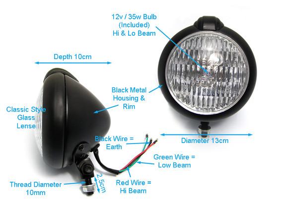 Custom Bates Style Matt Black Metal Classic 12V / 35W Headlight for Motorcycle Motorbikes