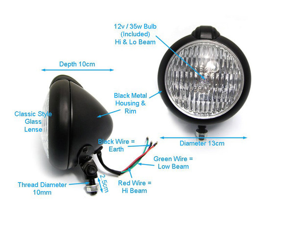 "4.75"" Headlights Bates Style - PAIR - BLACK 35W for Custom Project - Bottom Mount"