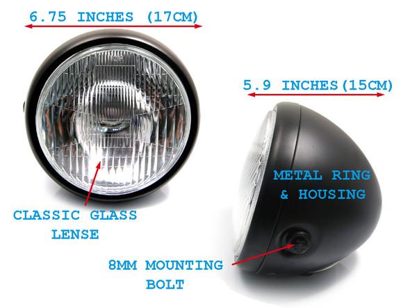 "Motorbike Motorcycle Universal 6 3/4"" 6.75"" Matt Black Steel 12V 55W Headlight"