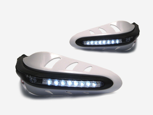 Universal WHITE DRL LED Motorcycle Motorbike Handguards With Driving Lights