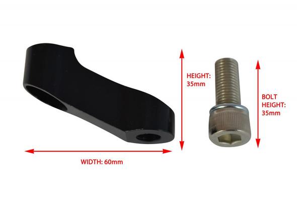Pair of High Quality Black 6cm Long 10mm Thread Motorbike Mirror Extenders - 1 x Clockwise & 1 x Anticlockwise Thread