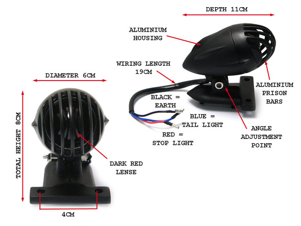 Black Vintage Style Prison Bulb Type Stop Light / Tail Light For Project Motorcycles Motorbikes