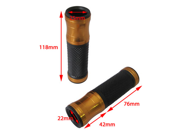 Gold Anodised Aluminium / Rubber Motorcycle Motorbike Hand Grips for 22mm bars