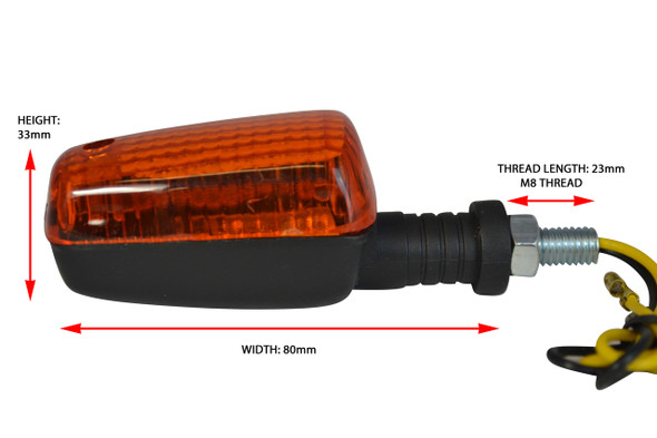 2 x Pairs of 21W Bulb Indicators - Black with Amber lens
