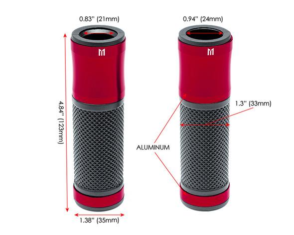 Red Anodised Aluminium / Rubber Motorcycle Motorbike Hand Grips