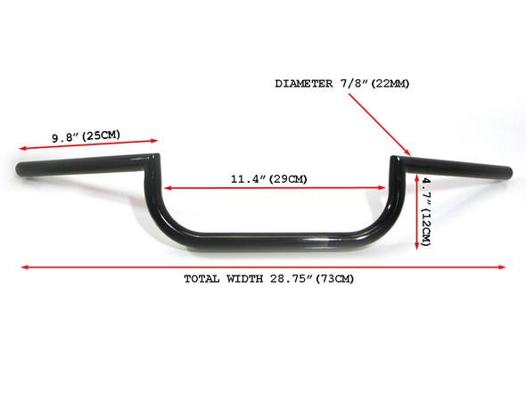"Good Quality Motorcycle Motorbike Clubman Style Steel 22mm 7/8"" Black Handlebars"