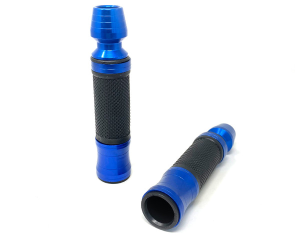 Blue Anodised Aluminum / Rubber Motorcycle Motorbike Hand Grips for 22m bar -  Including Bar Ends