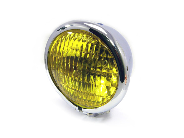 "4.75"" 120mm Chrome Bates E-marked Yellow Metal Motorcycle Motorbike Headlight"