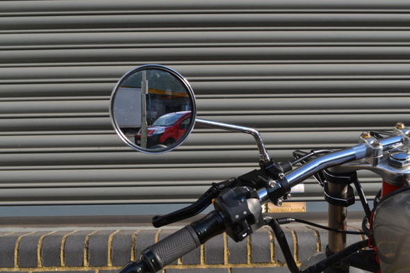 Pair Round Chrome Scooter Moped Vespa Piaggio Sym Mirrors - Universal Fit - 8mm