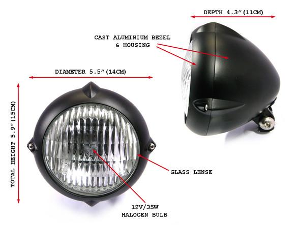 "5.5"" 12V / 35W Matt Black Bottom Mount E-marked Motorcycle Motorbike Headlight"