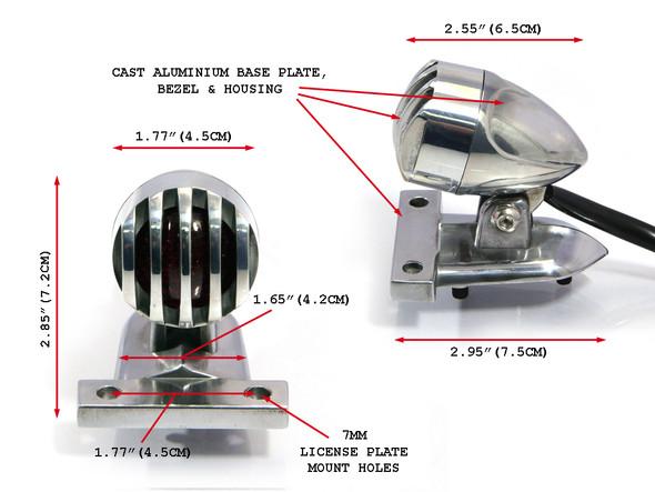 Polished Aluminium Silver Grill LED Custom Motorcycle Motorbike Stop / Tail Light