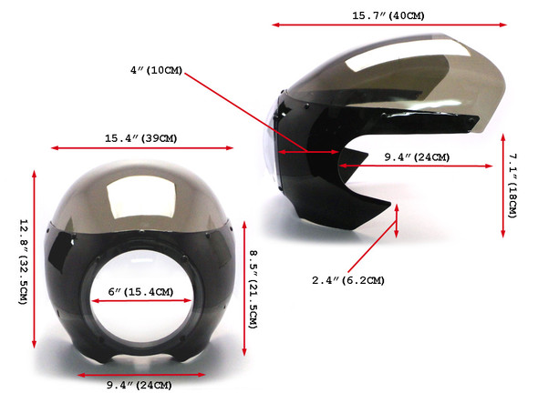 BLACK Universal Classic Cafe Racer Headlight Fairing Cowl with Tinted Windshield