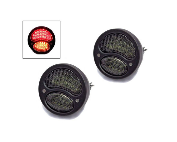 Pair of Black Vintage Style Car Integrated LED Stop Tail Lights with Indicators