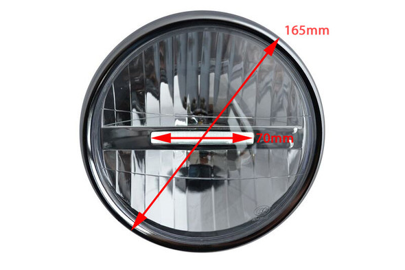 "Black Steel 6.5"" 6 1/2"" 12V LED Project Retro Motorbike Motorcycle Headlight"