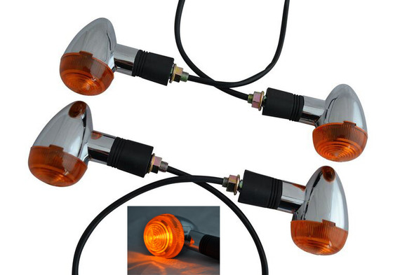 2 Pairs of Universal Chrome Classic Style Bullet Style Retro Motorcycle Indicators