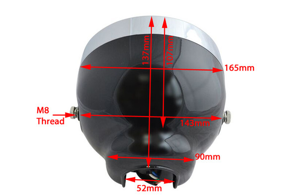 "BLACK 6.5"" 6 1/2"" 12V 35W Project Retro Motorbike Trike Headlight with LED Halo Ring"