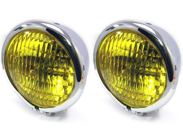 """4.75"""" Headlights with Yellow Lens - PAIR - CHROME 35W for Custom Project - Bottom Mount"""