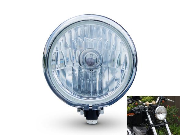 "5.75"" 12V 55W Bates Style Black & Chrome Custom Cafe Racer Motorbike Headlight"