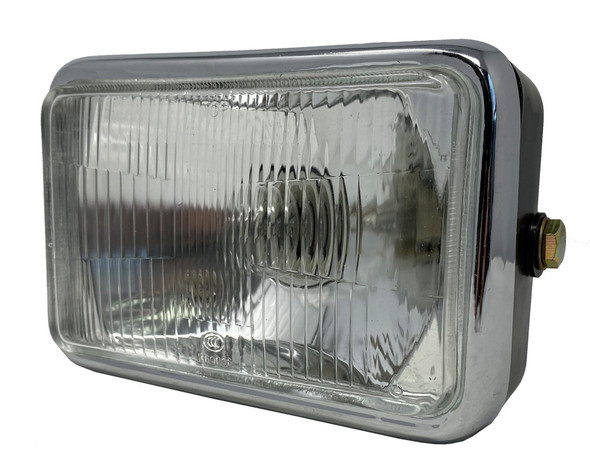 Black & Chrome Classic Retro Motorbike Replacement 12V Headlight with Sidelight