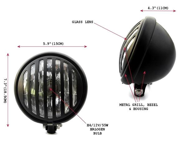 "5.75"" Black Grill Custom Cafe Racer Scrambler Motorbike Motorcycle Headlight"