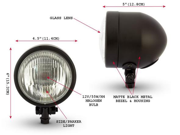 "4.5"" 4 1/2"" Matt Black Headlight 12V 55W for Custom Project Motorbike Motorcycle"