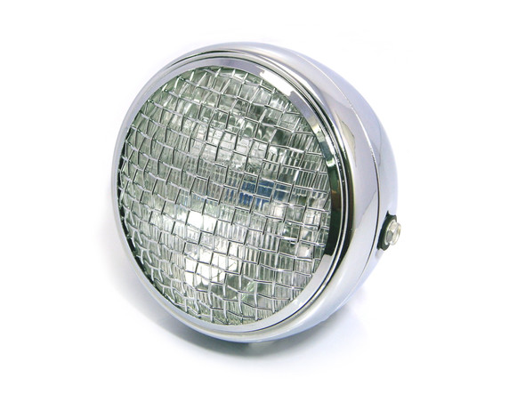 """7.7"""" Chrome Mesh Grill H4 55W Metal Project Motorcycle Motorbike Headlight"""