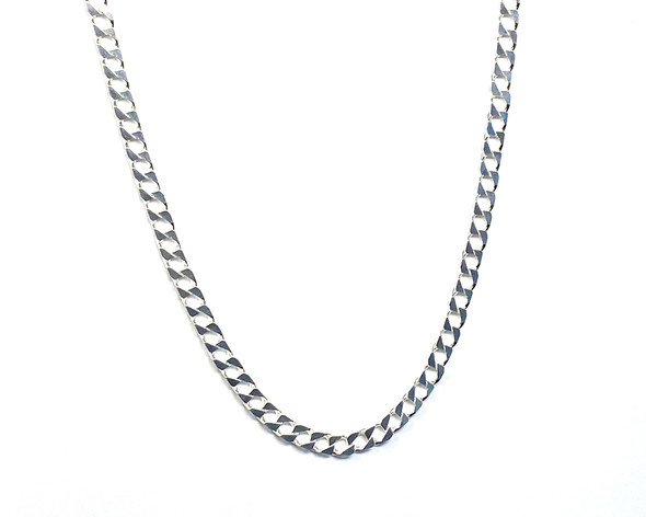 Men's Sterling Silver Curb Link Chain Square - 51 cm